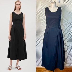 COS Flared Pleated Sleeveless Dress in Black